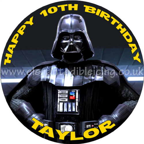STAR WARS DARTH VADER EDIBLE ROUND BIRTHDAY CAKE  TOPPER